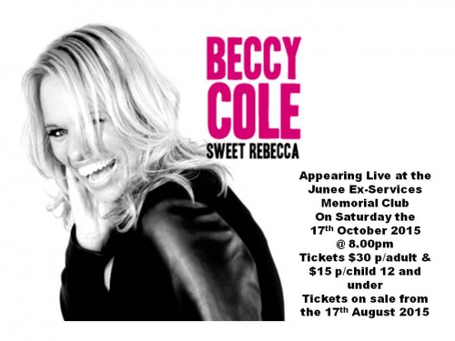 Beccy Cole Live in Concert @ Junee Ex-Services Memorial Club Ltd