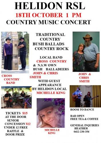 Helidon RSL Country Music Concert @ Helidon RSL | Helidon | Queensland | Australia